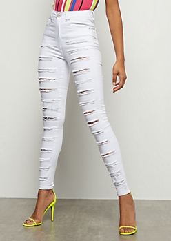 Redfox White Heavy Destroyed High Waisted Jeggings