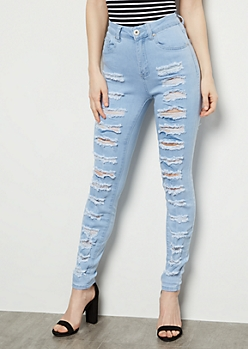 Redfox Light Wash Heavy Destroyed High Waisted Jeggings