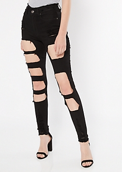 Red Fox Black Frayed High Waisted Cutout Jeggings