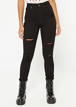 Red Fox Black High Waisted Distressed Jeggings