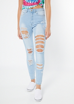 Red Fox Light Wash High Waisted Distressed Jeggings