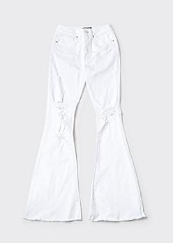 Redfox White High Waisted Ripped Flare Jeans