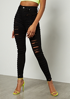 Redfox Black Heavy Destroyed High Waisted Skinny Jeans