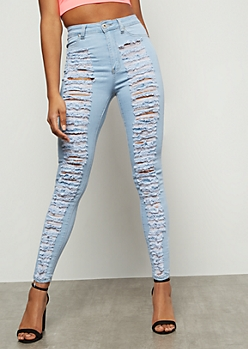 Redfox Light Wash Heavy Destroyed High Waisted Skinny Jeans