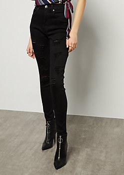 Red Fox Black Extra High Waisted Distressed Jeggings