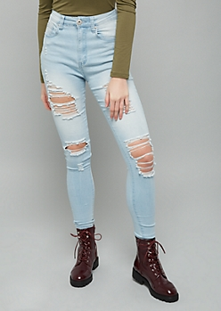 Red Fox Light Wash Extra High Waisted Distressed Jeggings