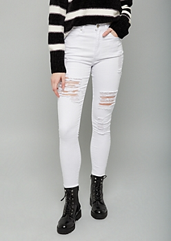 Red Fox White Extra High Waisted Distressed Jeggings