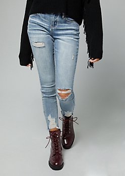 Light Wash Ripped Mid Rise Skinny Ankle Jeggings