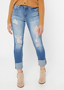 Medium Wash Sandblast Distressed Straight Leg Jeans