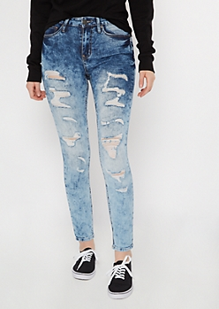 Medium Acid Wash Distressed Jeggings