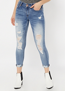 Medium Wash Double Button Distressed Ankle Jeggings