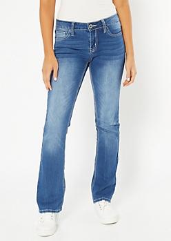 Medium Wash Whipstitch Pocket Bootcut Jeans