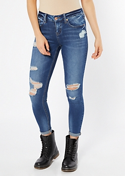 Medium Wash Rolled Distressed Jeggings