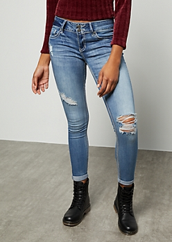 Medium Wash Distressed Rolled Hem Skinny Jeans
