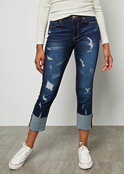 Dark Wash High Waisted Slim Cuffed Jeans