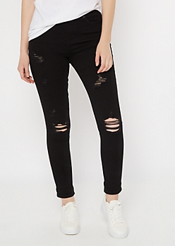 Black High Waisted Destructed Jeggings