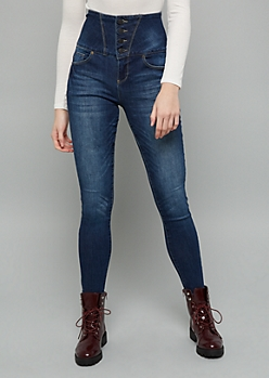 YMI Secrets Dark Wash Extra High Waisted Four Button Jeggings
