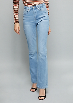 YMI Secrets Light Wash Extra High Waisted Flare Booty Jeans