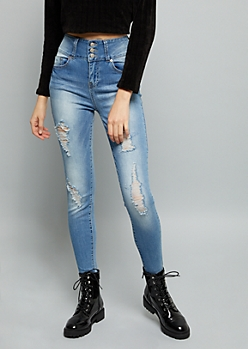 Medium Wash Extra High Waisted Distressed Jeggings