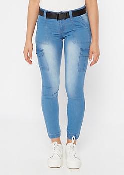 Light Wash Belted Cargo Pocket Jogger Jeans