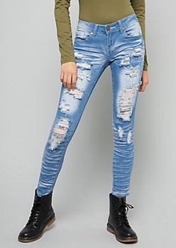 Light Wash Sandblasted Destructed Skinny Jeans