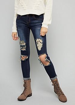 Dark Rinse Distressed Skinny Jeans