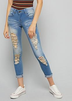 Light Rinse Distressed Skinny Jeans