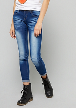 Medium Wash Whiskered Skinny Booty Jeans