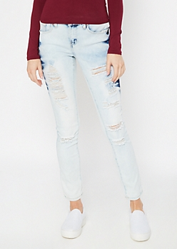 Light Acid Wash Tie Dye Destructed Skinny Jeans