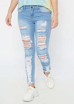 Light Wash Destroyed Mid Rise Jeggings