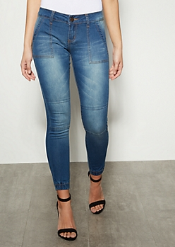Medium Wash Moto Cinched Skinny Jeans