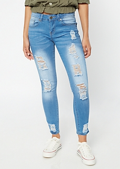 Light Wash Distressed Ankle Skinny Jeggings