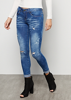 Medium Acid Wash Distressed Mid Rise Skinny Jeans