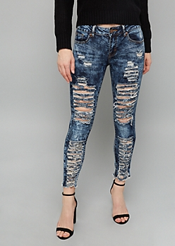 Dark Acid Wash Mid Rise Destructed Skinny Cropped Jeans