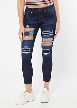 Dark Wash Ripped Repaired Ankle Jeggings