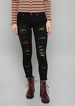 Black Mid Rise Destructed Skinny Cropped Jeans