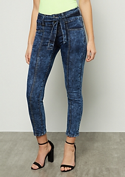 Dark Acid Wash Button Front Sash Waist Skinny Jeans