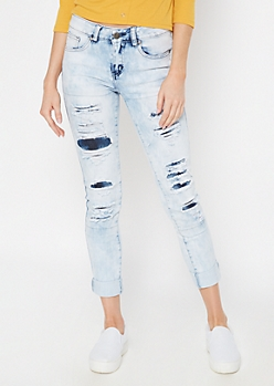 Light Acid Wash Rip and Repair Skinny Jeans