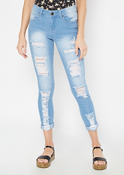Light Wash Destructed Skinny Jeans