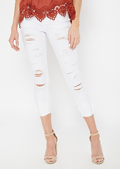 White Ripped Cuffed Ankle Jeggings