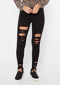 Black High Waisted Blown Knee Skinny Jeans