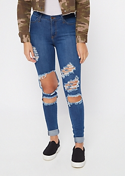 Medium Wash High Waisted Blown Knee Jeans In Long