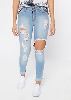 Light Wash High Waisted Blown Knee Jeans In Long