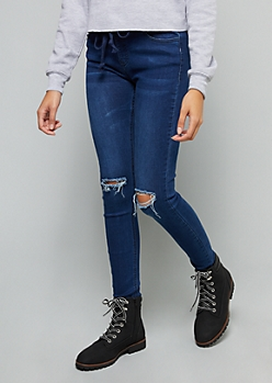 Dark Wash Ripped Knee Pull On Jeggings