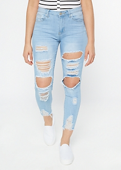 Light Wash Ripped Frayed Ankle Jeggings
