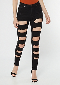 Black High Waisted Cutout Distressed Jeggings