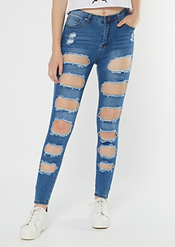 Medium Wash High Waisted Cutout Distressed Jeggings