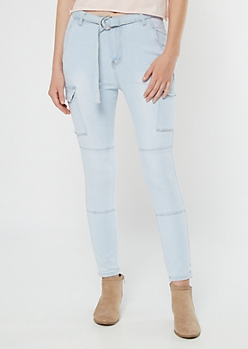 Light Wash Paperbag Waist Cargo Jeggings