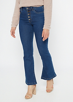 Dark Wash Exposed Button Flare Jeans