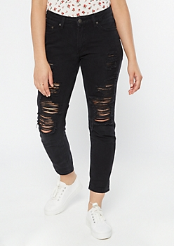 Black Mid Rise Ripped Mom Jeans